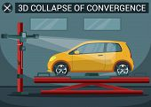 3d Collapse Of Convergence. Yellow Car On Overpass. Service Station. Auto Service. Automobile Lift.  poster