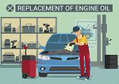 Replasement Of Ingine Oil. Car Service Worker. Oil Change. Service Station. Service. Man In Red Unif poster