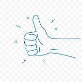 Thumb Up, Best And Ok Finger Gesture. Vector Sketch Doodle Line Icon poster