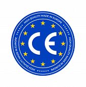Ce Marking Label, European Conformity Certification Mark Stamp. Vector Eu High Quality Stars Certifi poster