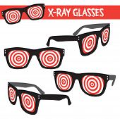 picture of geek  - Vintage style vector illustrated xray glasses - JPG