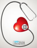 stethoscope measuring heartbeat. vector