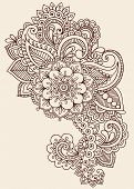 Henna Paisley bloemen Mehndi Tattoo Doodles Design - Abstract Floral illustratie ontwerpelementen