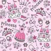 Seamless Pattern Fairy Tale Princess Tiara Crown Notebook Sketchy Doodle Design Elements Vector Desi