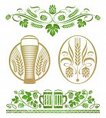 Satz von dekorativ stilisierte Hopfen und Bier