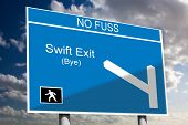 image of bye  - Swift Exit concept on a blue motorway road sign with a sky background - JPG