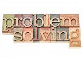 problem solving - isolated words in vintage letterpress wood type printing blocks