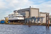 Luxury Cruise Boat At A Shipyard In The Netherlands