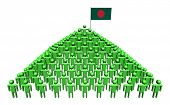 Pyramid of abstract people with Bangladeshi flag illustration