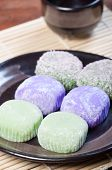 foto of ube  - mochi or sticky rice balls filled with variety of flavors