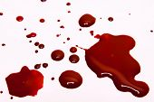 stock photo of gash  - Blood stains on a white background  - JPG
