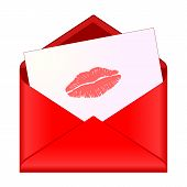 Open Red Envelope With Lipstick Kiss On Letter