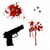 stock photo of bullet  - Gun with bullet holes and blood isolated on white - JPG