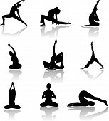 pic of yoga silhouette  - Yoga man and woman sillhouettes in vector art - JPG