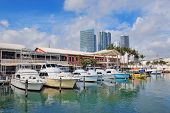 MIAMI, FL - FEB 7: Bayside Marketplace in day on February 7, 2012 in Miami, Florida. It is a festiva