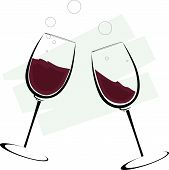 foto of wine-glass  - Illustration of two glass of wine in a designed background - JPG