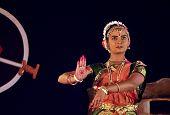 A young Bharatnatyam dancer performing