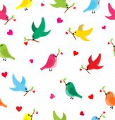 Pattern With Flying Birds Carrying A Branch With A Heart