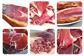 a collage of different pictures of spansih serrano ham
