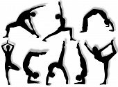 picture of yoga silhouette  - Yoga silhouettes in different poses and attitudes - JPG