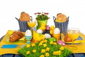 image of duck egg blue  - Detail easter table in blue and yellow - JPG