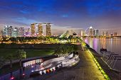 picture of singapore night  - night scene of Singapore skyline at Marina bay - JPG