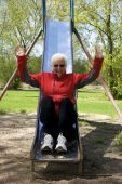 Senior Lady In Playground