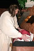 stock photo of forgiven  - jesus laying his hands on a sick woman - JPG