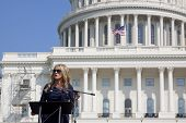 WASHINGTON-SEPT 11: Journalist Scottie Nell Hughes speaks at the 911 Justice for Benghazi rally at t
