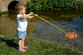 Young child, girl, fishing using a net.