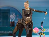 KIEV, UKRAINE - AUGUST 31: Team Ukraine performs the routing with balls and ribbons during the 32nd Rhythmic Gymnastics World Championships in Kiev, Ukraine on August 31, 2013