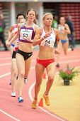 LINZ, AUSTRIA - JANUARY 31 Andrea Mayr (#53 Austria) places 2nd in the women's 3000m event on Januar