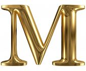 Golden font type letter M, uppercase
