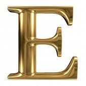 Golden font type letter E, uppercase