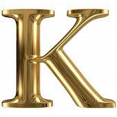 Golden font type letter K, uppercase
