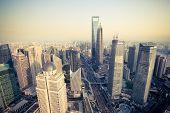 Bird's Eye View Shanghai Financial Center At Dusk