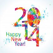 New Year's card 2014 with colorful drops and sprays on a white background. Vector illustration.