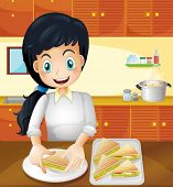 Illustration of a happy mother preparing snacks in the kitchen
