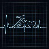 Illustration of heartbeat makes running men