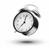 stock photo of analog clock  - Classical Alarm Clock Ringing On White Background - JPG