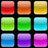 Vector set of varicolored dotted rounded square buttons isolated on gray background.