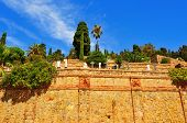view of Cementiri del Sud-oest or Montjuic Cemetery in Barcelona, Spain