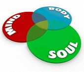 The words Mind, Body and Soul on a venn diagram of three intersecting circles to represent total wellness and harmony in your complete health