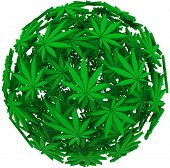 picture of marijuana plant  - Medicinal marijuana leaves in a sphere background pattern to illustrate medical uses of cannabis - JPG