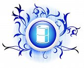 oilcan icon on blue decorative button