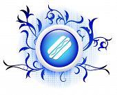 hotdog icon on blue decorative button