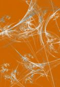 White Fractal Spider Web On An Orange Background That Is Ideal For Halloween,