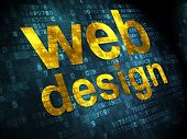 SEO web design concept: Web Design on digital background