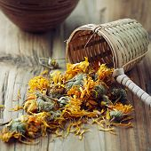 Dried Marigold Flowers with a bamboo tea strainer
