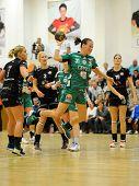 SIOFOK, HUNGARY - SEPTEMBER 14: Agnes Hornyak (green 31) in action at a Hungarian Championship handb